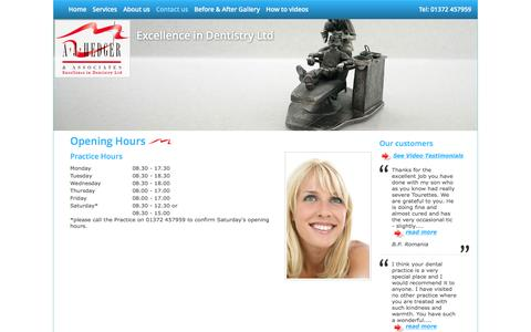 Screenshot of Hours Page openwide.biz - AJ Hedger and Associates Dental practice, Great Bookham Leatherhead Surrey - captured March 11, 2016