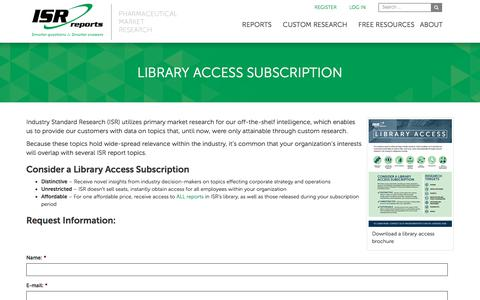 Screenshot of Signup Page isrreports.com - Library Access Subscription - Industry Standard Research - captured Oct. 15, 2017