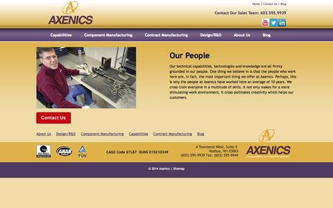 Screenshot of Team Page axenics.com - In powering our employees - captured Sept. 30, 2014