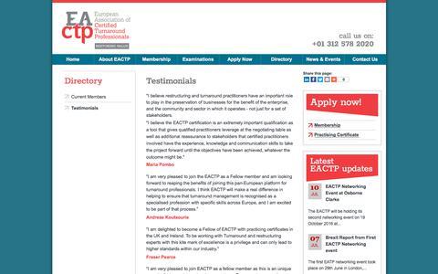Screenshot of Testimonials Page eactp.eu - Testimonials | European Association of Turnaround Professionals - captured July 14, 2018