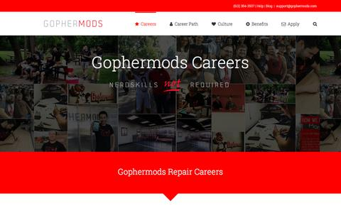 Screenshot of Jobs Page gophermods.com - Careers - Gophermods - captured July 22, 2018