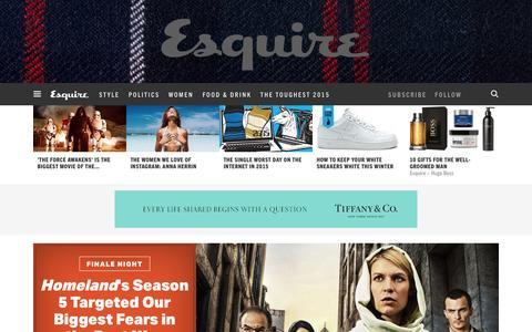 Screenshot of Home Page esquire.com - Esquire - Men's Fashion, Cocktails, Politics, Interviews, and Women - captured Dec. 20, 2015