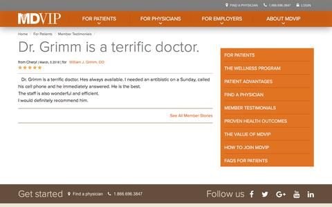 Screenshot of Testimonials Page mdvip.com - Dr. Grimm is a terrific doctor. | MDVIP - captured May 5, 2018