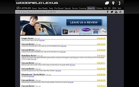 Screenshot of Testimonials Page woodfieldlexus.com - Woodfield Lexus is a Schaumburg Lexus dealer and a new car and used car Schaumburg IL Lexus dealership. - captured Sept. 26, 2014