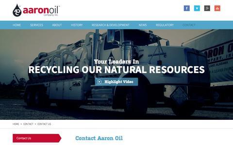 Screenshot of Contact Page aaronoil.com - Contact Us | Aaron Oil - captured Oct. 4, 2014
