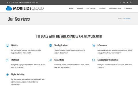 Screenshot of mobilizecloud.com - Our Services | Mobilize Cloud - Columbus Web Development - captured Oct. 3, 2015