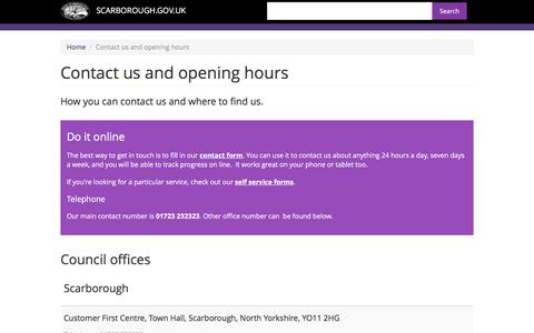 Screenshot of Contact Page scarborough.gov.uk - Contact us and opening hours | SCARBOROUGH.GOV.UK - captured Jan. 23, 2016