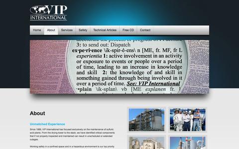 Screenshot of About Page vipinc.com - About VIP International - captured Feb. 17, 2016