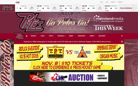 Screenshot of Press Page gopetesgo.com - Peterborough Petes – Official site of the Peterborough Petes - captured Nov. 5, 2016