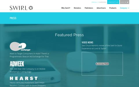 Screenshot of Press Page swirl.com - Press and Awards for Swirl Networks - captured Oct. 31, 2014
