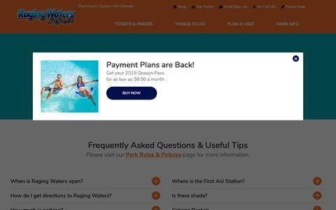 Screenshot of FAQ Page rwsplash.com - FAQs & Tips | Raging Waters San Jose - captured Oct. 4, 2018
