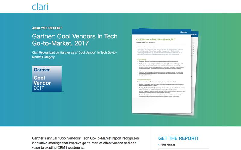 Clari as Gartner's Cool Vendors in Tech Go-to-Market, 2017