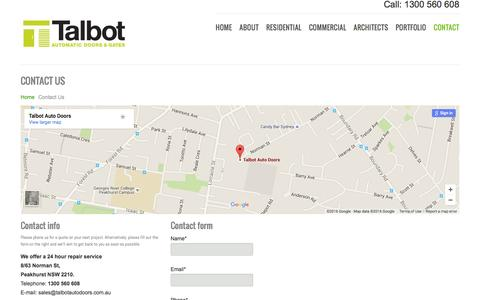 Screenshot of Contact Page talbotautodoors.com.au - Contact Talbot Auto Doors For Information On Automatic Gates, Automatic Doors Or Sliding Gates In Sydney - captured Jan. 24, 2016