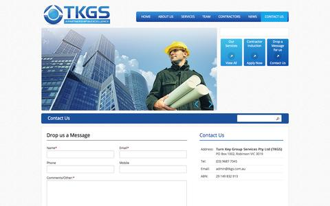 Screenshot of Contact Page tkgs.com.au - Contact Us | TKGS - captured Oct. 9, 2014