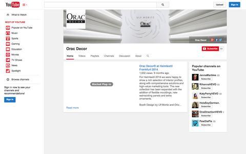 Screenshot of YouTube Page youtube.com - Orac Decor  - YouTube - captured Nov. 3, 2014