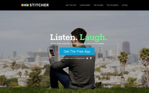 Screenshot of Home Page stitcher.com - Listen to radio shows and podcasts on demand, create custom stations, get personalized recommendations & always be up to date. | Stitcher Radio On Demand - captured July 10, 2014