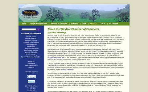 Screenshot of About Page windsorchamber.com - About the Windsor Chamber of Commerce | Windsor Chamber of Commerce and Visitors Center - captured March 8, 2016