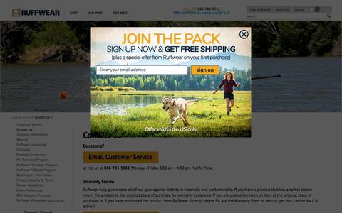 Screenshot of Contact Page ruffwear.com - Contact Us  |  Ruffwear Customer ServiceContact Us - captured June 30, 2017
