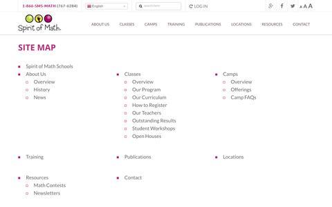 Screenshot of Site Map Page spiritofmath.com - Sitemap | Spirit of Math Schools - captured Dec. 1, 2016