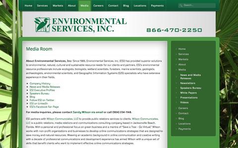Screenshot of Press Page esinc.cc - Media - Environmental Services, Inc. | Environmental Services, Inc. | Media - captured Oct. 2, 2014