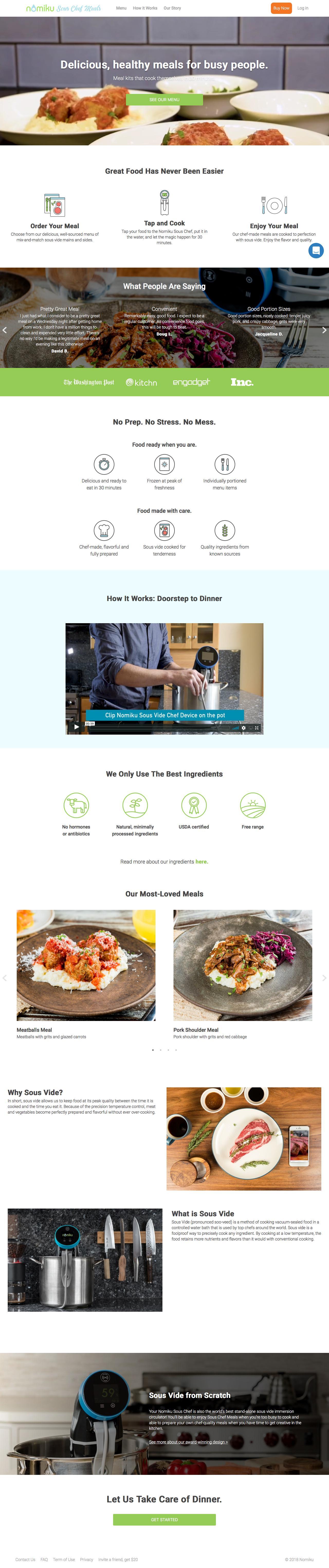 Screenshot of nomiku.com - Nomiku Sous Chef Meals - captured June 27, 2018