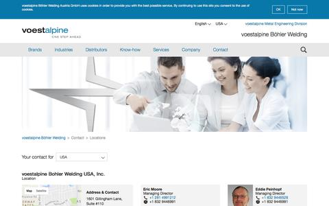 Screenshot of Contact Page Terms Page Locations Page voestalpine.com - voestalpine Böhler Welding - Contact - Locations - captured Nov. 23, 2016