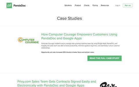 Screenshot of Case Studies Page pandadoc.com - PandaDoc Case Studies - captured Aug. 5, 2016