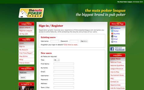 Screenshot of Login Page thenutspokerleague.com - Gateway - The Nuts Poker League - captured Oct. 6, 2014