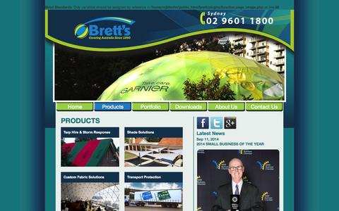 Screenshot of Products Page brettproducts.com.au - Products   Brett's:Covering Australia - captured Oct. 8, 2014
