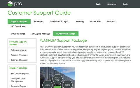 Screenshot of Support Page ptc.com - PLATINUM Package | PTC - captured Nov. 13, 2018