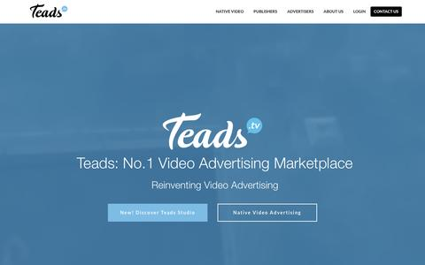 Screenshot of Home Page teads.tv - Native Video Advertising - captured Sept. 13, 2016