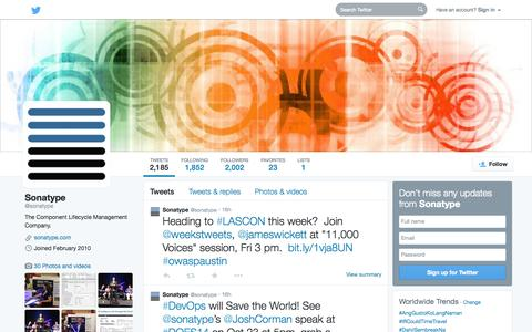 Screenshot of Twitter Page twitter.com - Sonatype (@sonatype) | Twitter - captured Oct. 22, 2014