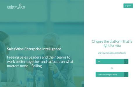 Screenshot of Trial Page saleswise.com - SalesWise - captured Dec. 4, 2015
