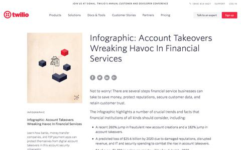 Screenshot of Services Page twilio.com - Infographic: Account Takeovers Wreaking Havoc In Financial Services - Account Security - Twilio - captured Nov. 28, 2019