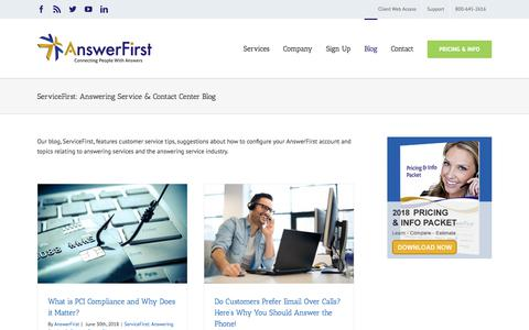 Screenshot of Blog answerfirst.com - ServiceFirst: Answering Service & Contact Center Blog Archives | AnswerFirst - captured July 2, 2018