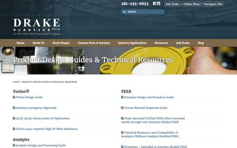 Screenshot of FAQ Page drakeplastics.com - Product Design Guides & Technical Resources - captured Oct. 13, 2017
