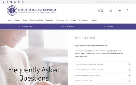Screenshot of FAQ Page mrsfrisbeesallnaturals.co.uk - Frequently Asked Questions - captured Nov. 30, 2016