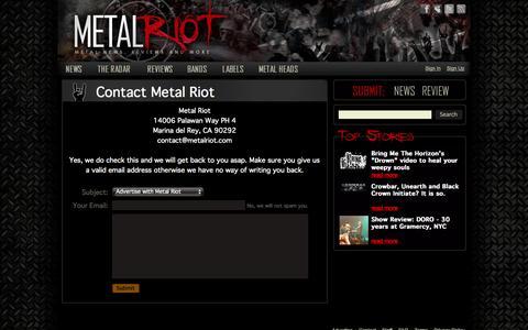 Screenshot of Contact Page metalriot.com - Contact Metal Riot – Metal Riot - captured Oct. 27, 2014