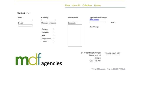 Screenshot of Contact Page mdfagencies.com - MDF Agencies - Contact Us - captured Oct. 27, 2014