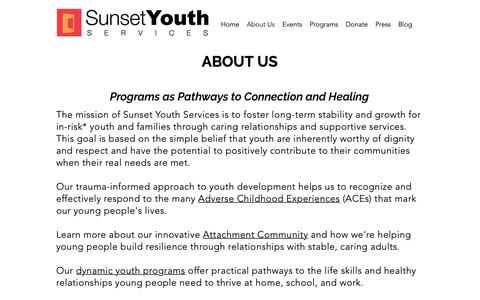 Screenshot of About Page sunsetyouthservices.org - SunsetYouthServices | About Us - captured Nov. 7, 2018