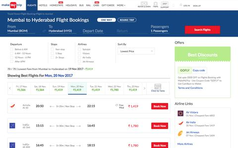 70 Flights Mumbai to Hyderabad Fares @Rs.1419+ 2000 OFF (upto)