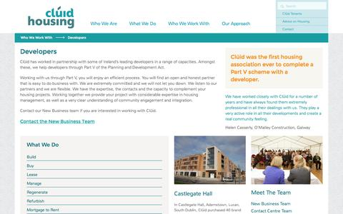 Screenshot of Developers Page cluid.ie - Developers - Clúid Housing Association - captured Nov. 2, 2014