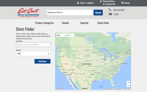 Screenshot of Maps & Directions Page ecmdi.com - Store Finder | East Coast Metal Distributors - captured July 13, 2017