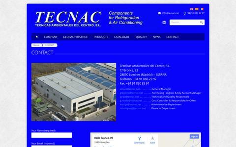 Screenshot of Contact Page tecnac.net - TECNAC Información de contacto - captured Nov. 4, 2014