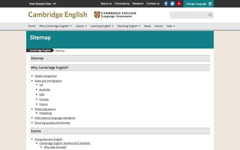 Screenshot of Site Map Page cambridgeenglish.org - Sitemap | Cambridge English - captured Sept. 18, 2014