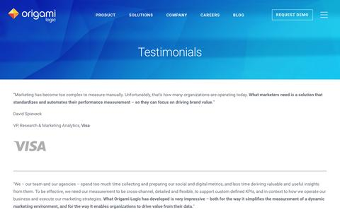 Screenshot of Testimonials Page origamilogic.com - Origami Logic | Marketing Intelligence, Analytics, Reports, Dashboards - captured July 4, 2016