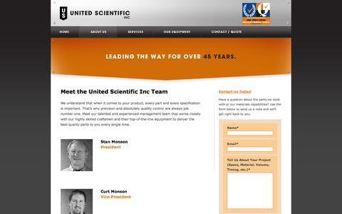 Screenshot of Team Page unitedscientificinc.com - Meet the Team - About United Scientific Inc - captured Sept. 30, 2014