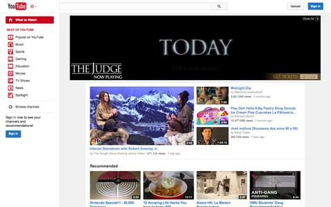Screenshot of Home Page YouTube Page youtube.com - YouTube - captured Oct. 10, 2014