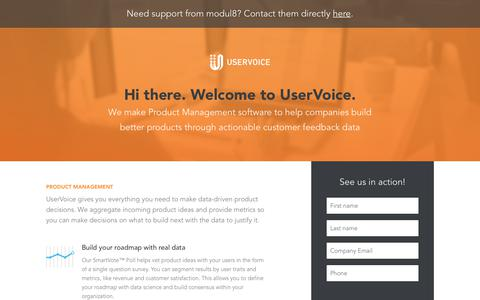 Screenshot of Landing Page uservoice.com - Powered By UserVoice - captured Oct. 3, 2018