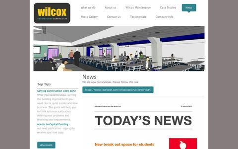 Screenshot of Press Page wilcoxconstruction.co.uk - Wilcox Construction Services Ltd - Construction, Construction Design and Project Management - News - captured Oct. 26, 2014